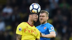 Andre Gray Per Mertesacker Watford Arsenal 14102017