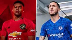 Manchester United Chelsea kits 2019-20 Lingard Hazard