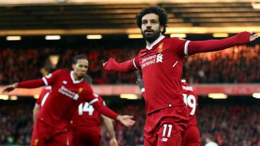 Salah celebrates Liverpool v Tottenham