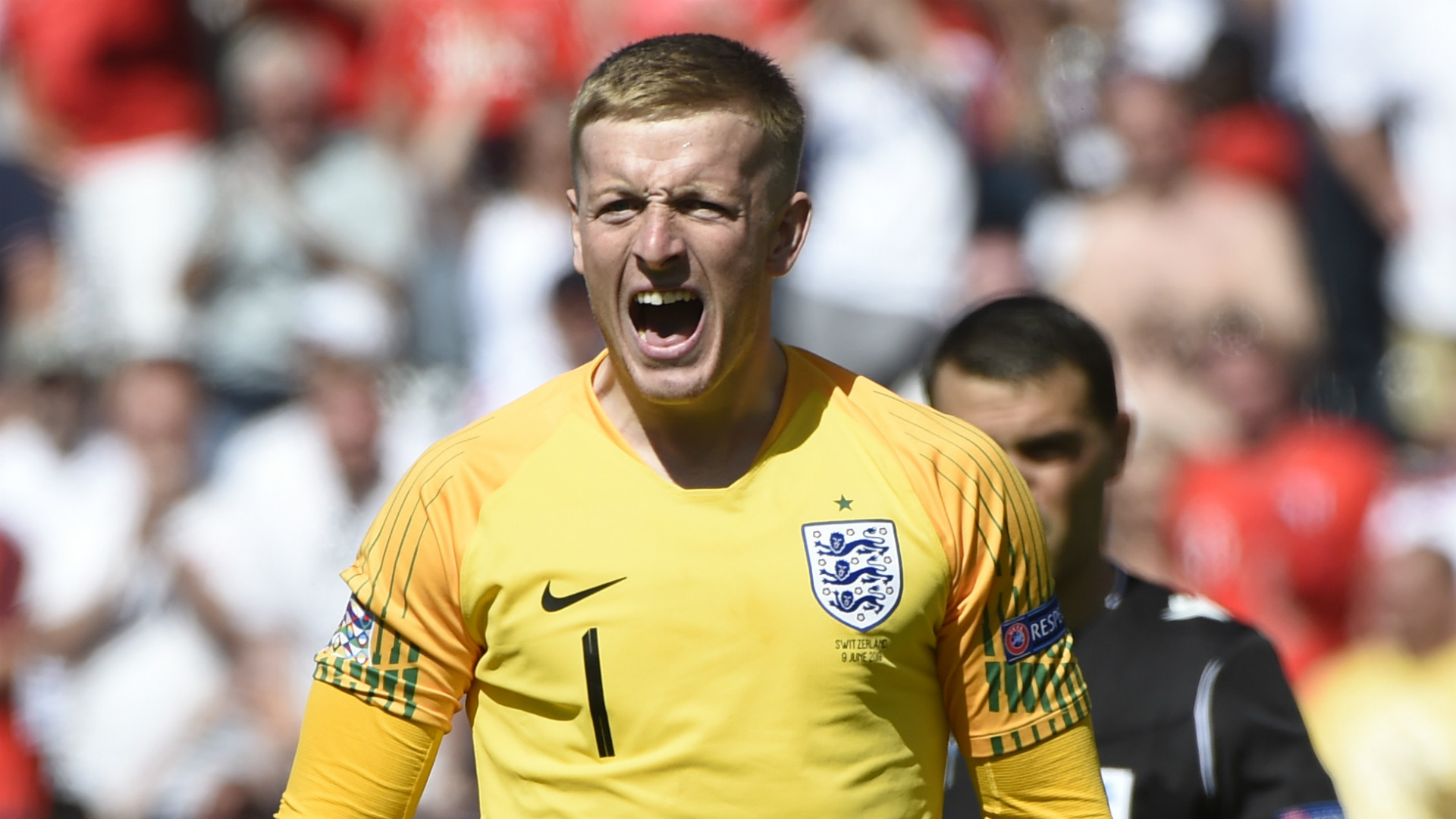 Image result for Jordan Pickford was England's spot-kick hero once more as they beat Switzerland on penalties to finish third in the inaugural Uefa Nations League.