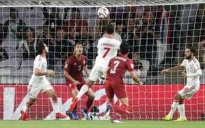 Ali Mabkhout scoring UAE's first against Thailand