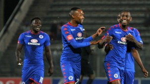 Siyabonga Nhlapo celebrates SuperSport United goal with teammate