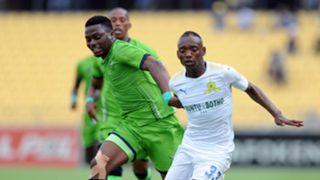 Enocent Mkhabela of Platinum Stars against Khama Billiat of Sundowns