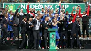 SuperSport United celebrating Nedbank Cup success