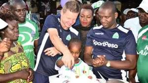 Judith Nyangi Ben Omondi and coach Dylan Kerr of Gor Mahia.