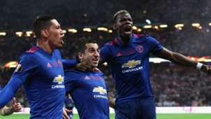 Henrikh Mkhitaryan Chris Smalling Paul Pogba Manchester United Europa League