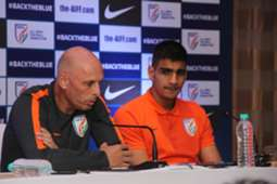 Indian national team head coach Stephen Constantine with goalkeeper Gurpreet Singh Sandhu