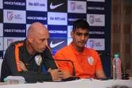 Indian national team head coach Stephen Constantine with goalkeeper Gurpreet Singh Sandhu