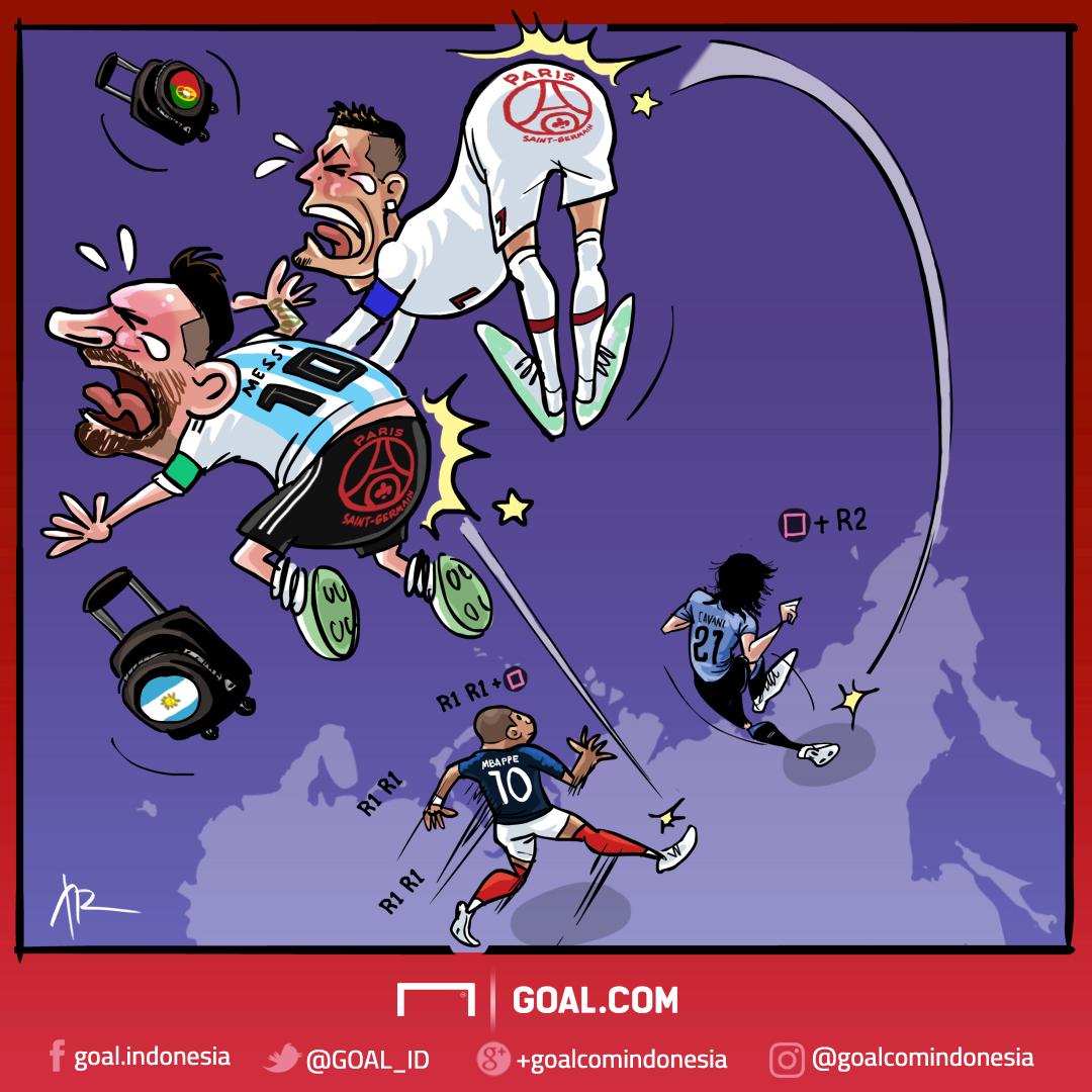 Kartun Goal Indonesia - PSG Tendang Messi-Ronaldo