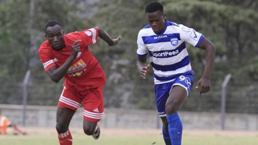 joackins Atudo and Vincent Oburu of AFC Leopards