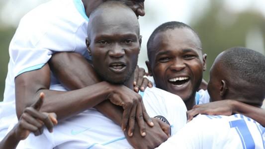 Sofapaka's Pate Wanok celebrates scoring fastets goal in seconds.