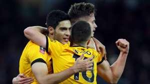 Wolves celebrate vs Liverpool