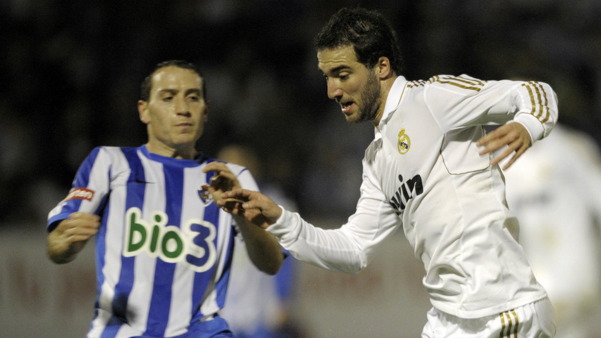 Alan Baro Gonzalo Higuain Ponferradina v Real Madrid Copa del Rey 13122011