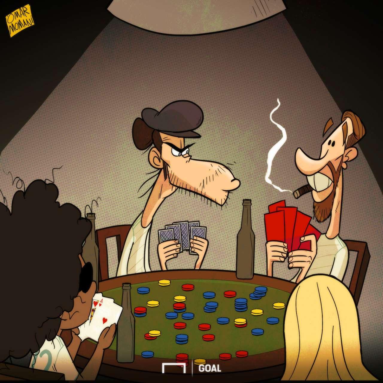 Cartoon Ramos red cards