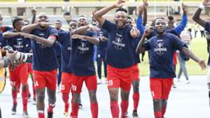 Bandari FC players celebrate winning FKF Shield Cup.