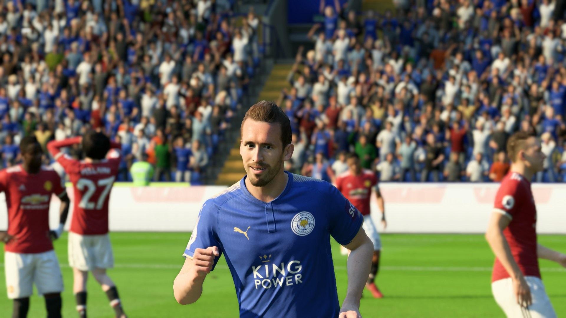 Christian Fuchs Leicester FIFA 18 screengrab