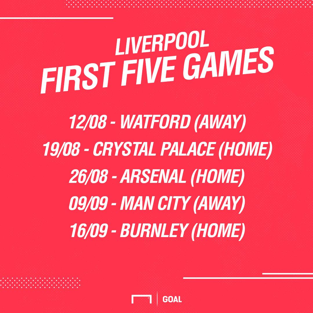 Liverpool first five fixtures