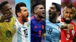 Neymar Messi Falcao Suarez Vidal Brasil Argentina Colombia Uruguay Chile Copa America 2019