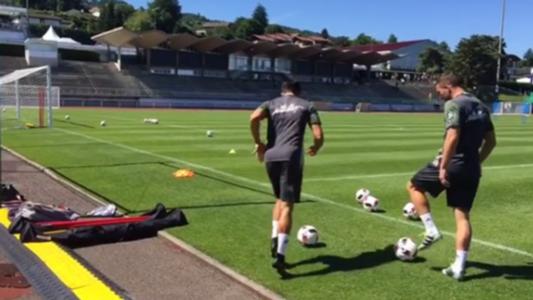 Lukas Podolski Emre Can trick shot challenge