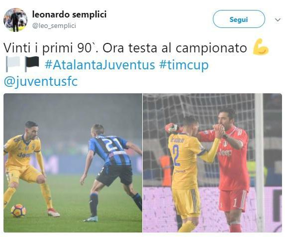 Semplici esulta per la Juventus: il post era di De Sciglio