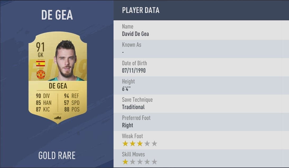 Embed only FIFA 19 ratings David de Gea