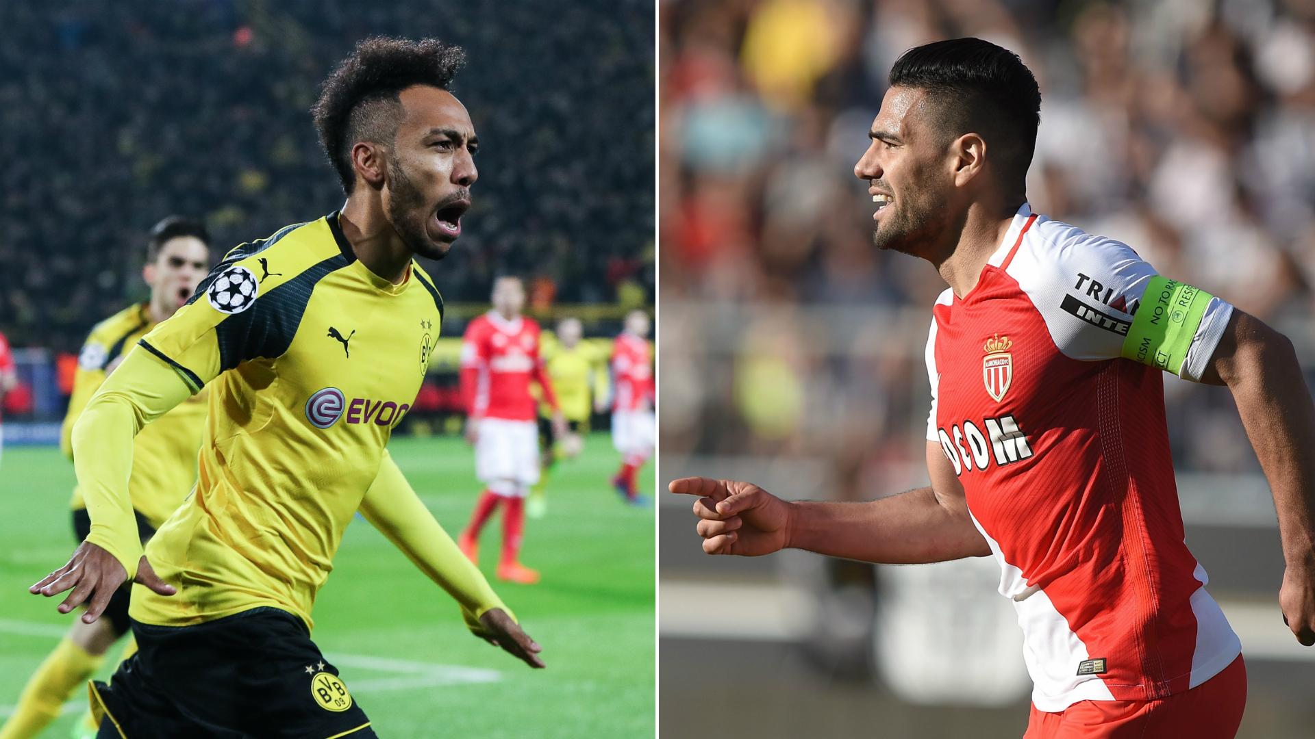 Pierre-Emerick Aubameyang y Radamel Falcao Dortmund Monaco Preview Champions