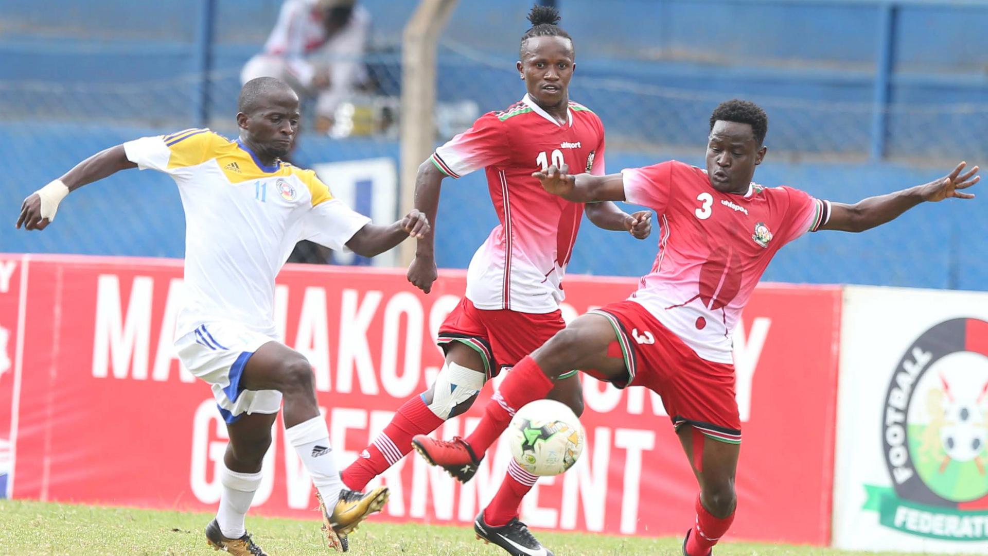 Francis Kahata of Harambee Stars Erick Ouma v Swaziland.