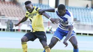 Collins Neto (L) and Salim Abdallah of Chemelil and AFC Leopards