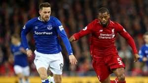 Georginio Wijnaldum Gylfi Sigurdsson Liverpool vs Everton Premier League 2018-19