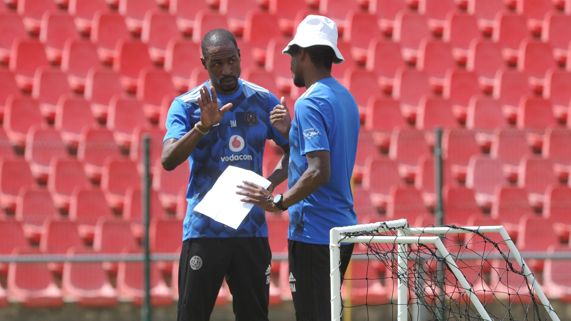 Orlando Pirates assistant coaches Benson Mhlongo and Rhulani Mokwena