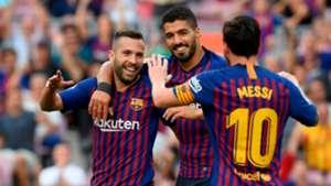 Lionel Messi Luis Suarez Jordi Alba Barcelona Huesca LaLiga 02092018