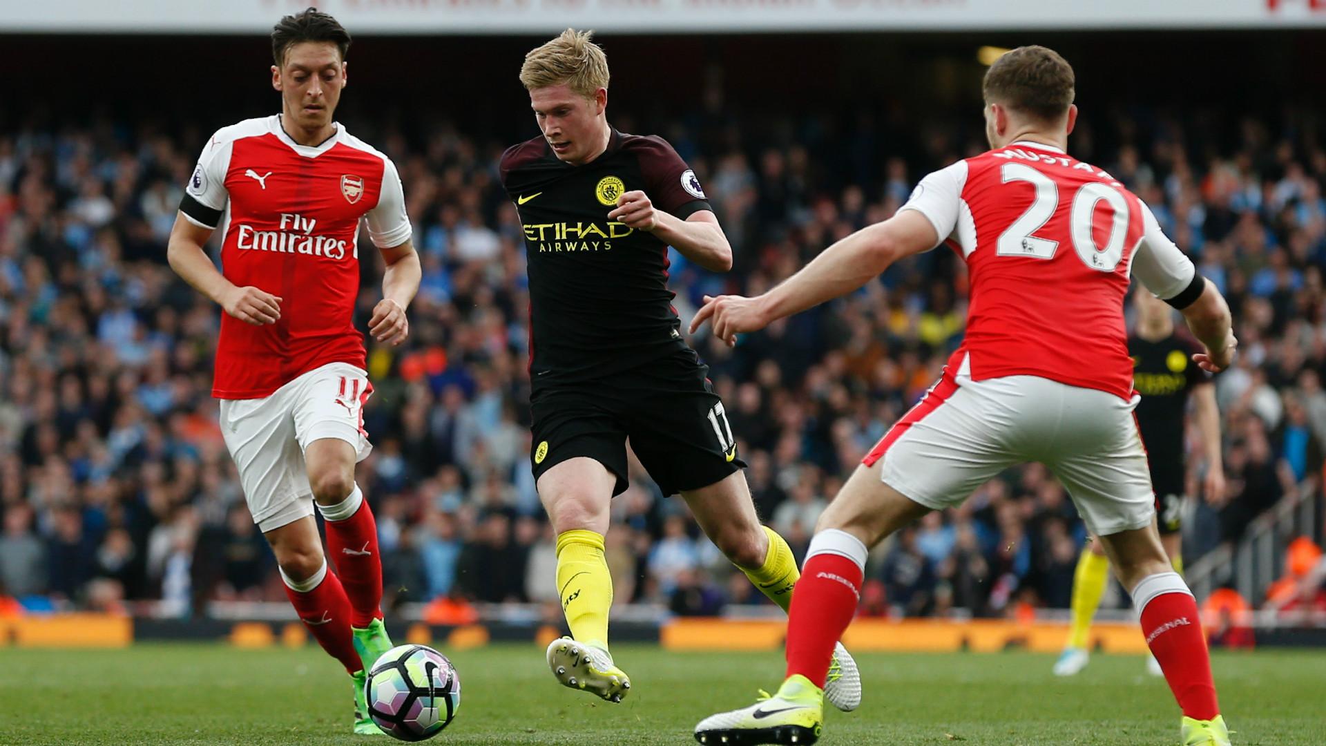 Kevin De Bruyne Mesut Ozil Shkodran Mustafi Arsenal Manchester City Premier League 02042017