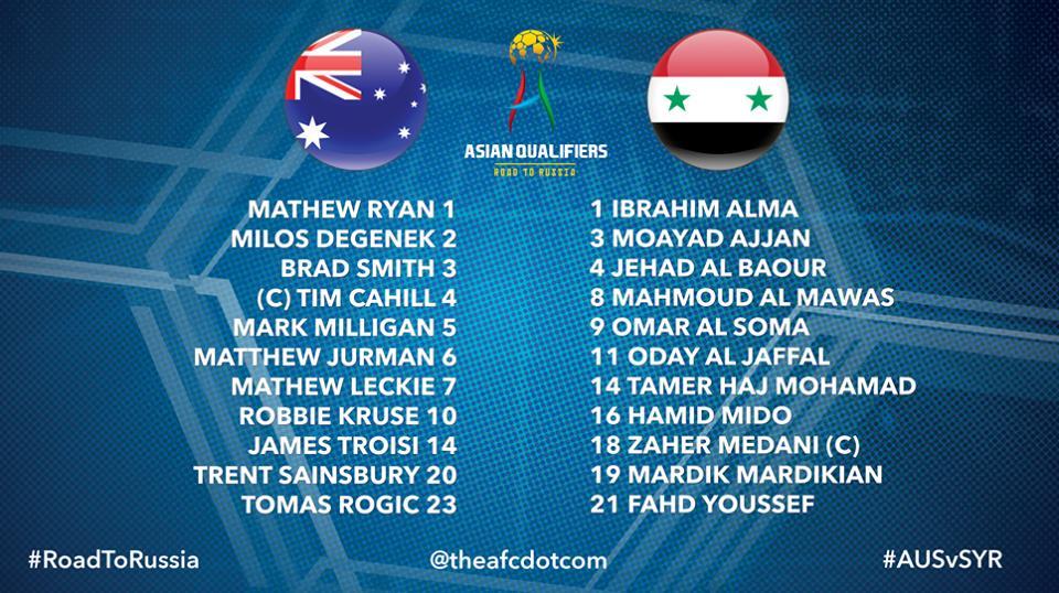 Australia Syria Starting 11th