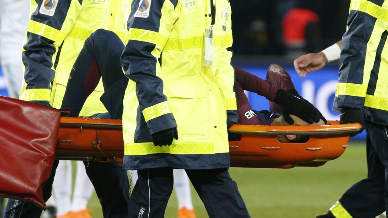 Neymar Injury News PSG Star In Doubt For Real Madrid Clash After Being Stretchered Off Tears Vs Marseille