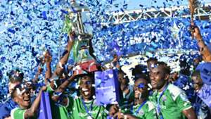 Gor Mahia players with trophy.