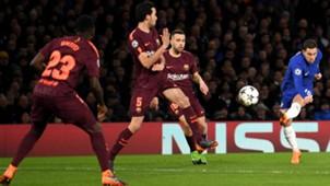 Eden Hazard Sergio Busquets Jordi Alba Chelsea Barcelona Champions League