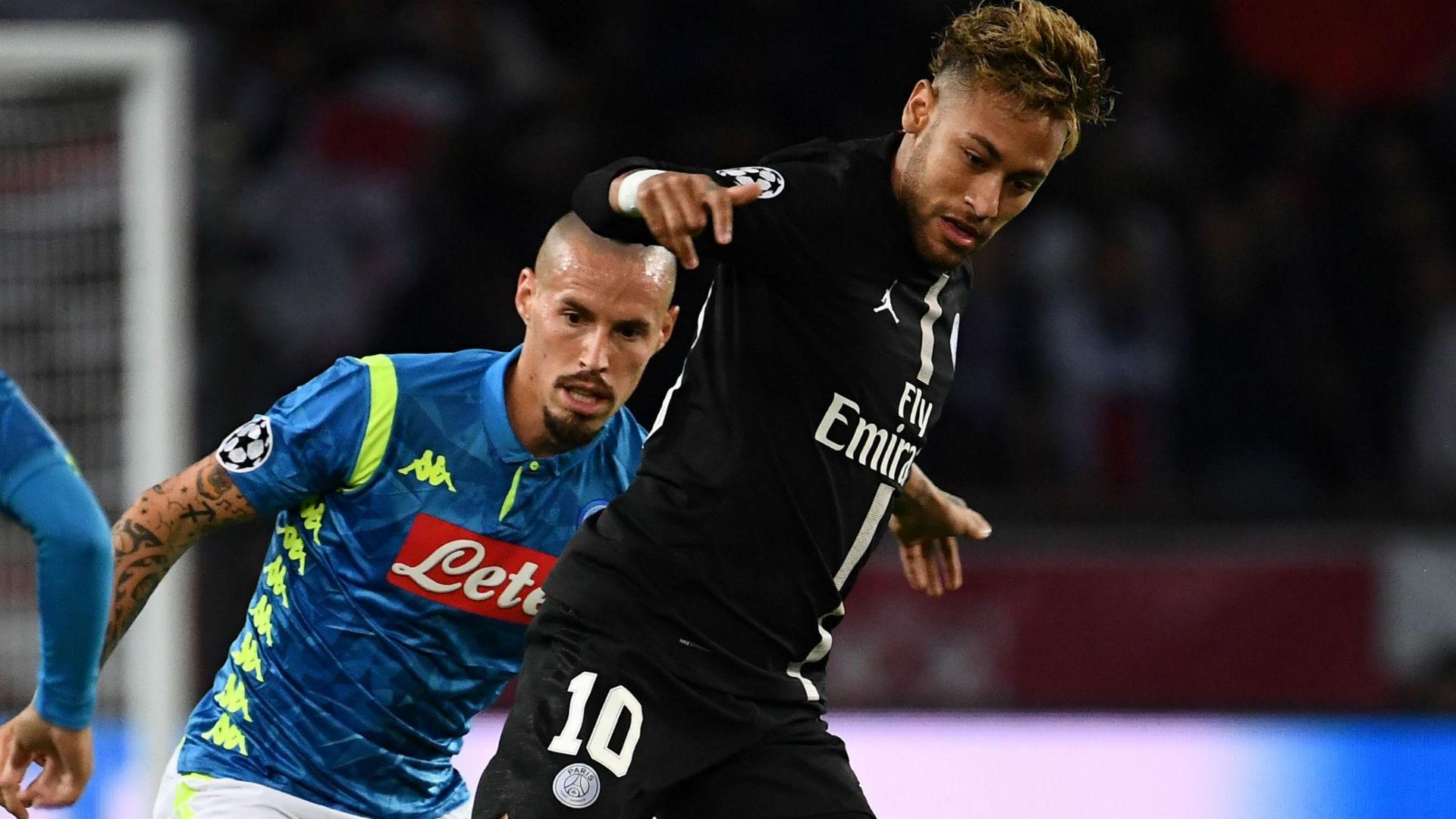 Neymar Marek Hamsik PSG Napoli UEFA Champions League 24102018