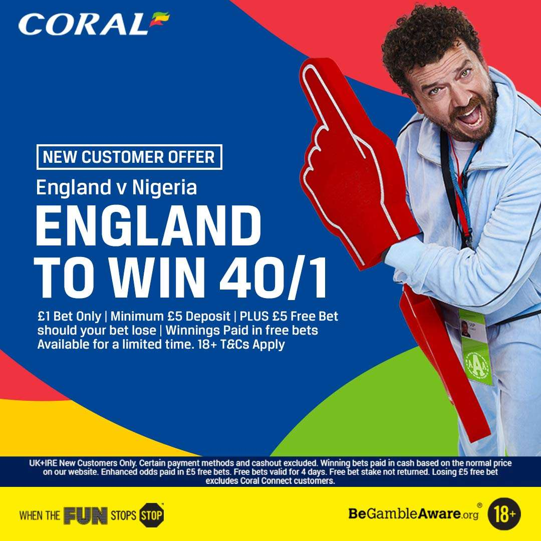 Betting Tips: England 40/1 to beat Nigeria for new Coral customers