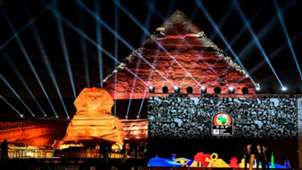 prior to the 2019 CAF African Cup of Nations (CAN) draw shows a view of the draw venue with the Pyramid of Khafre