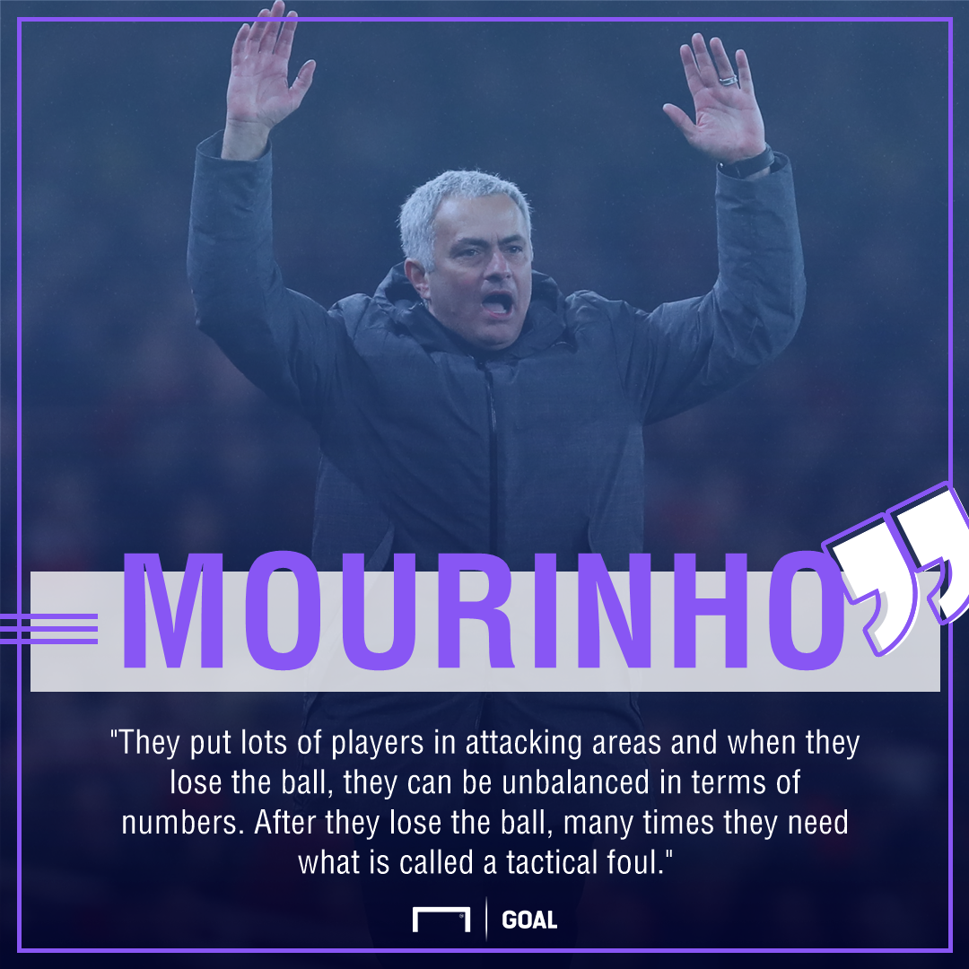 Jose Mourinho Manchester City tactical fouls
