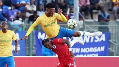 Mamelodi Sundowns v SuperSport United - August 2019 Motjeka Madisha and Kudakwashe Mahachi