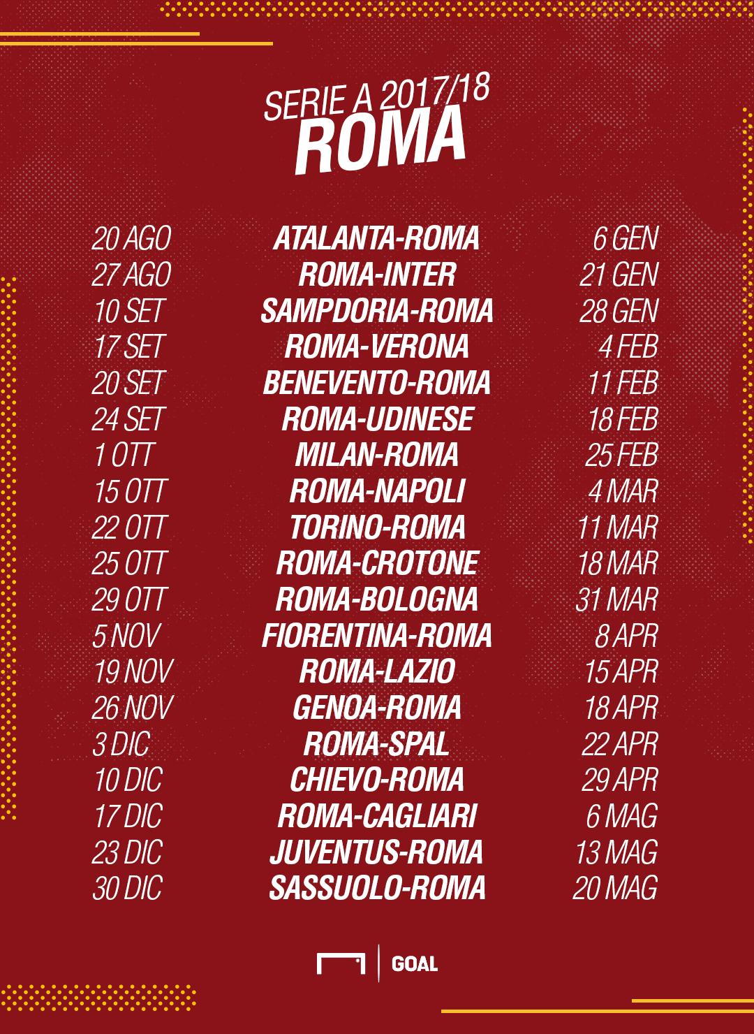 Calendario Serie A Milan Inter.Calendario Serie A Roma 2017 2018 Partite E Date Goal Com