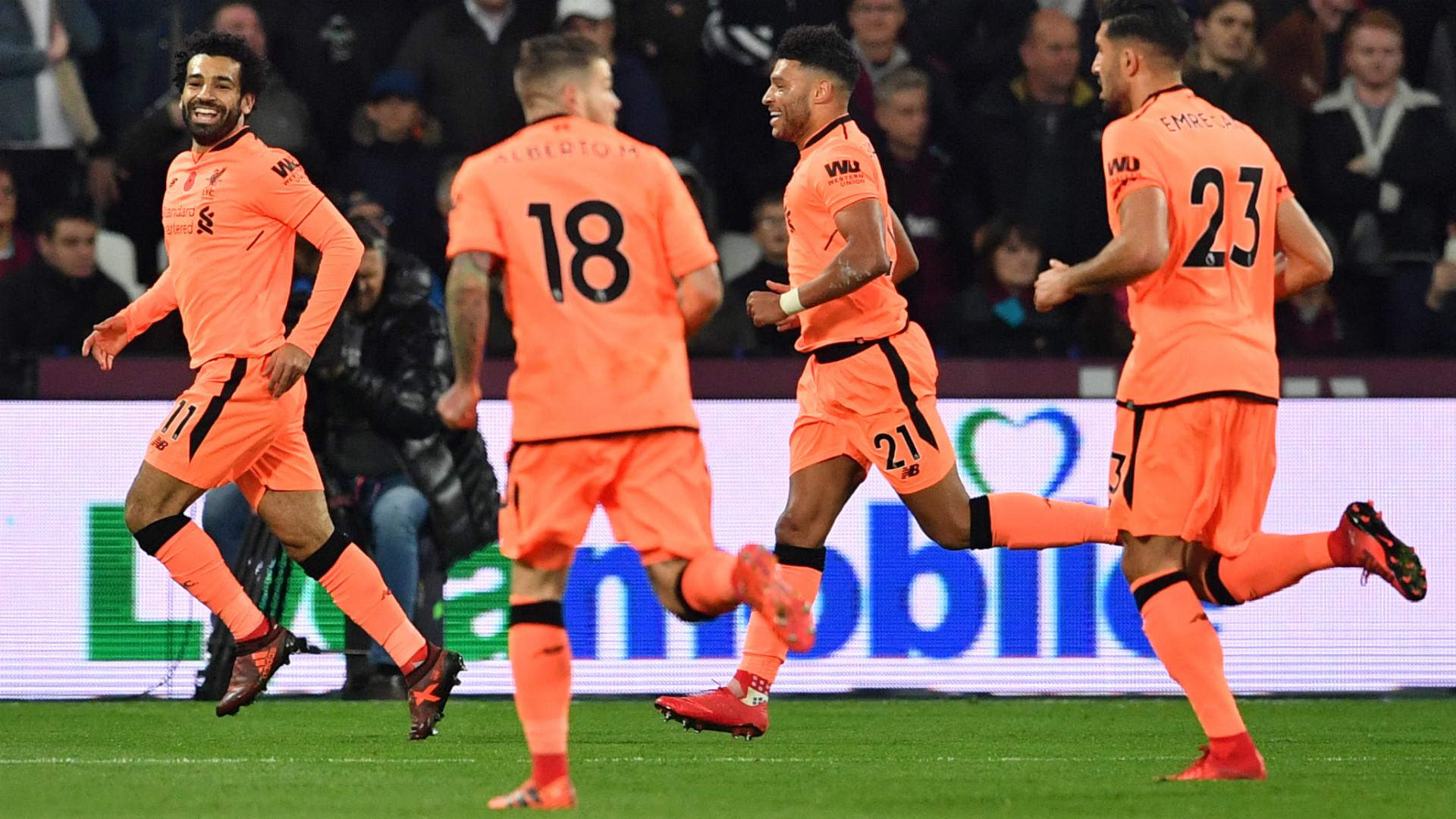 Salah Liverpool celebrates