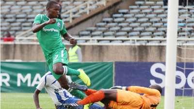 Nicholas Kipkirui of Gor Mahia scores past Ezekiel Owade of AFC Leopards.