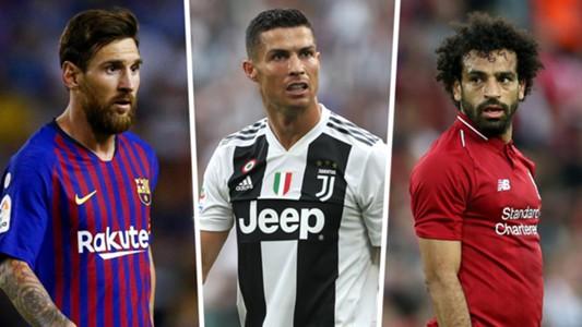 Lionel Messi Cristiano Ronaldo Mohamed Salah split