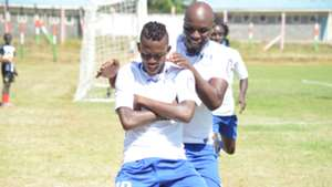 Hassan Abdalla and Wycliffe Ochomo of Bandari FC celebrates his goal against mt kenya fc.