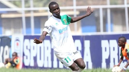 Cliff Nyakeya celebrates scoring for Mathare United.