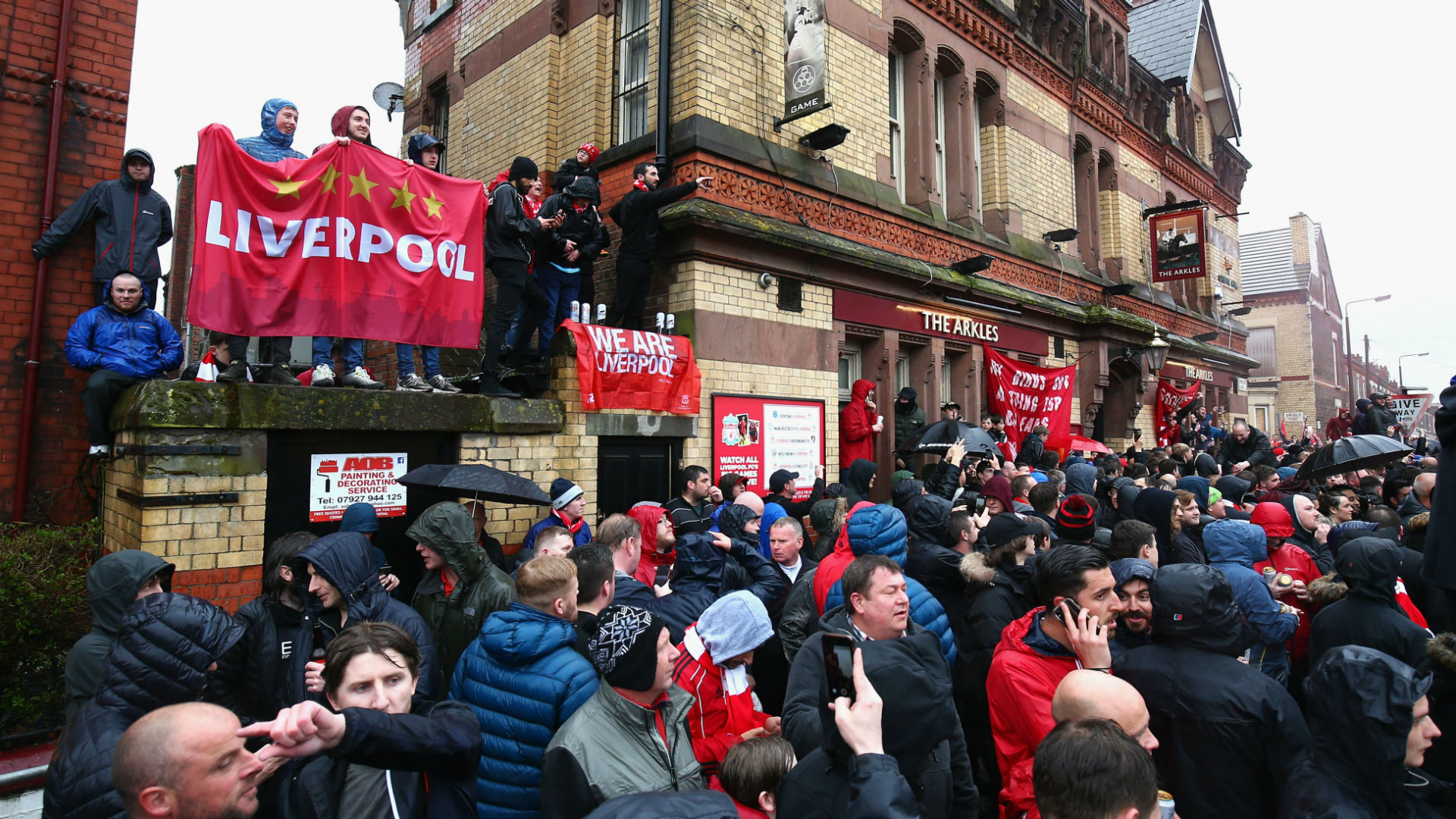 Liverpool fans at Anfield ahead of the first leg with Roma