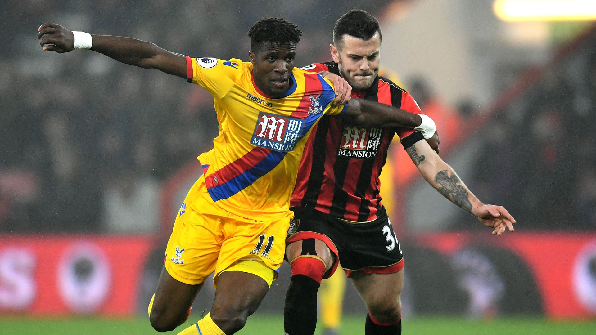 Jack Wilshere & Wilf Zaha Premier League Bournemouth v Crystal Palace