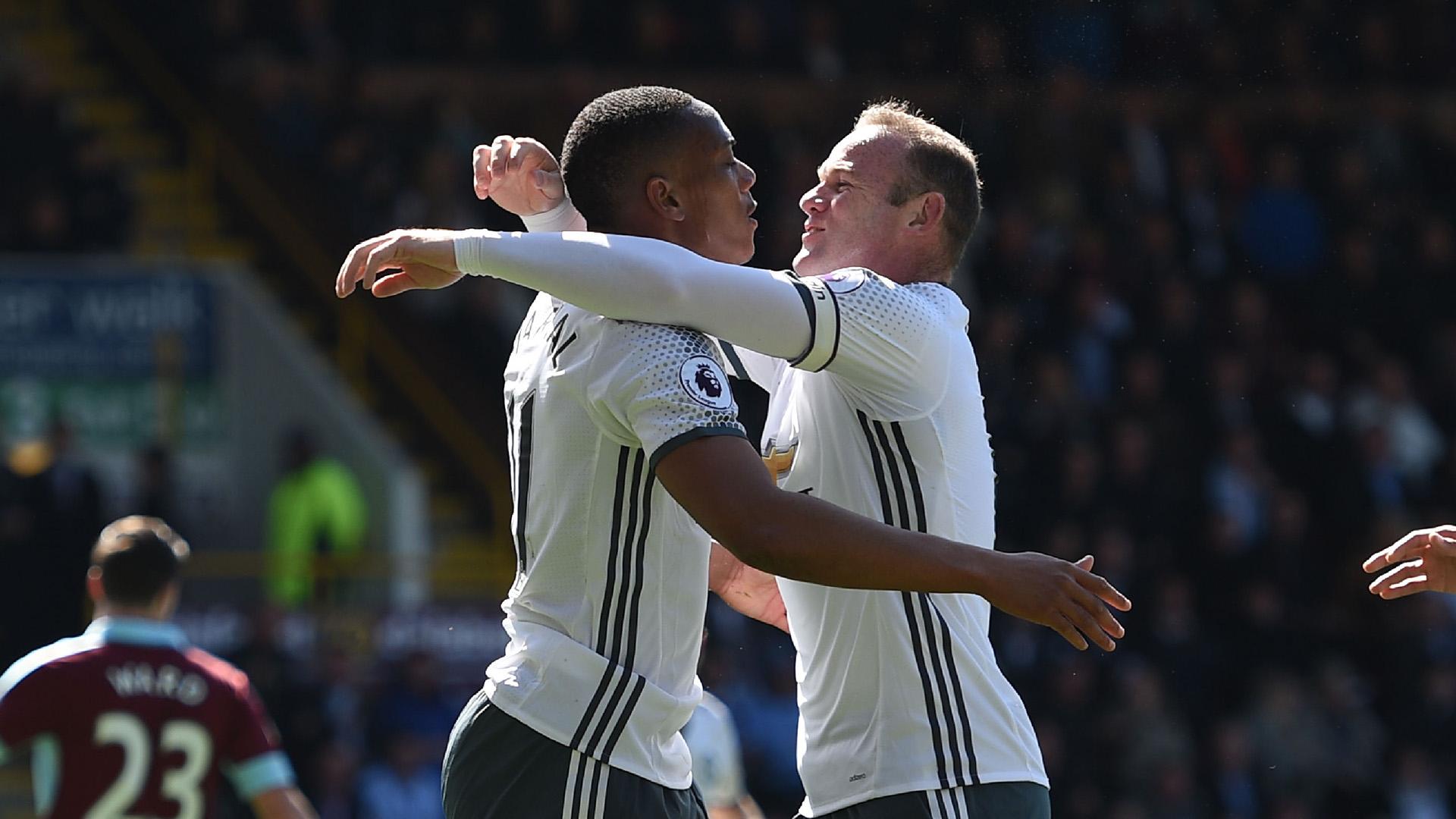 Anthony Martial Wayne Rooney Manchester United Burnley Premier League
